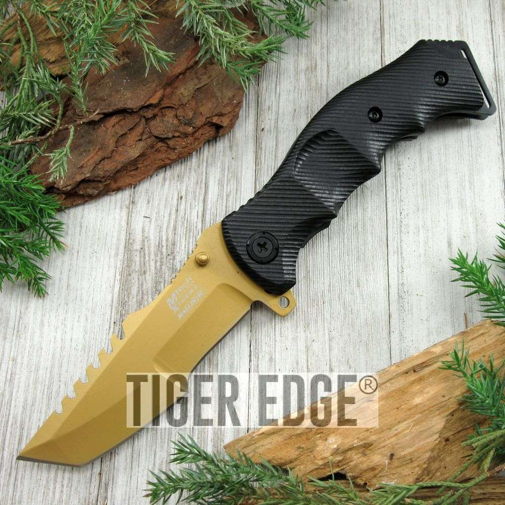 Spring-Assist Folding Pocket Knife Mtech Heavy Duty Gold Blade Black Tactical