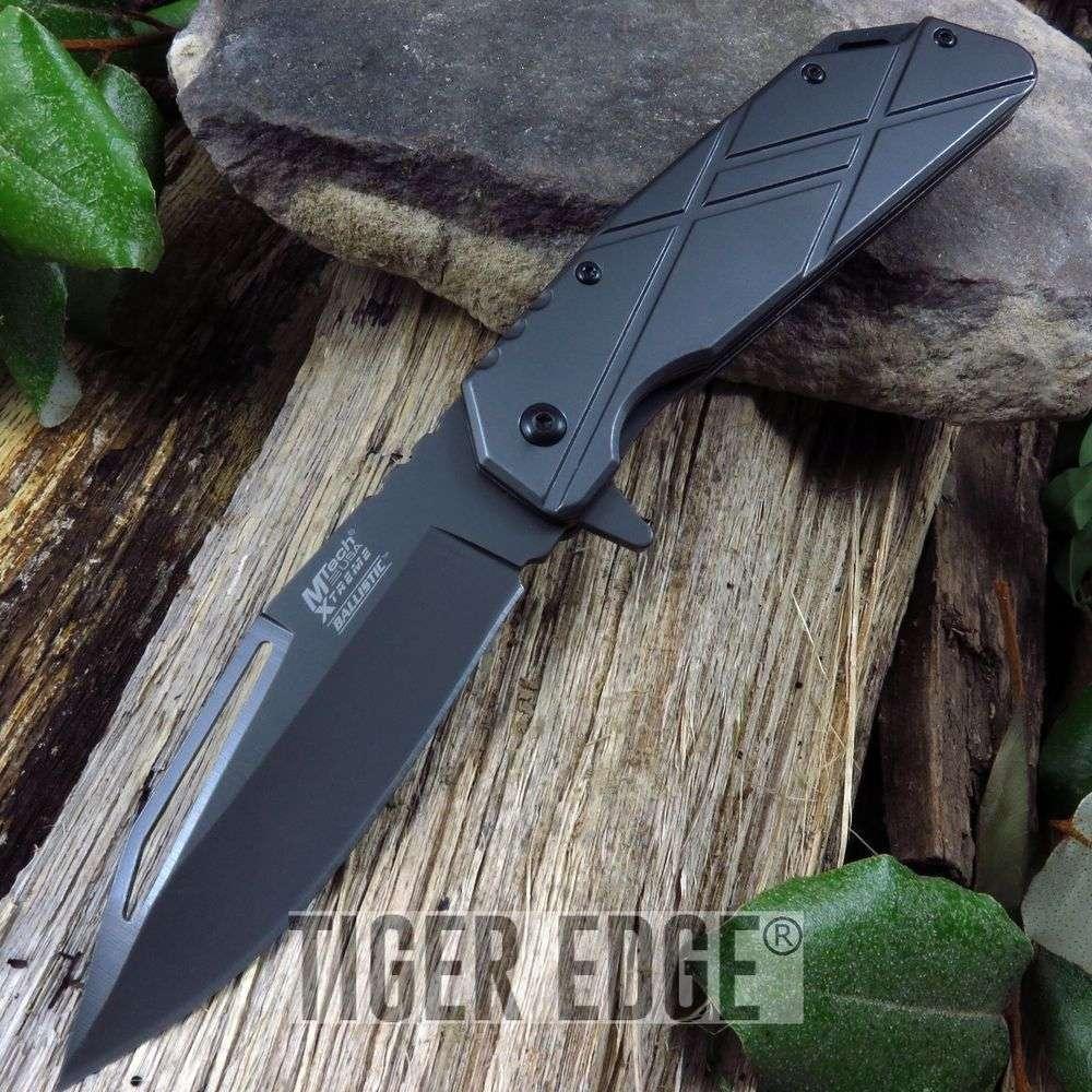 Mtech Cross Pattern Gunmetal Everyday Carry Spring-Assisted Folding Knife