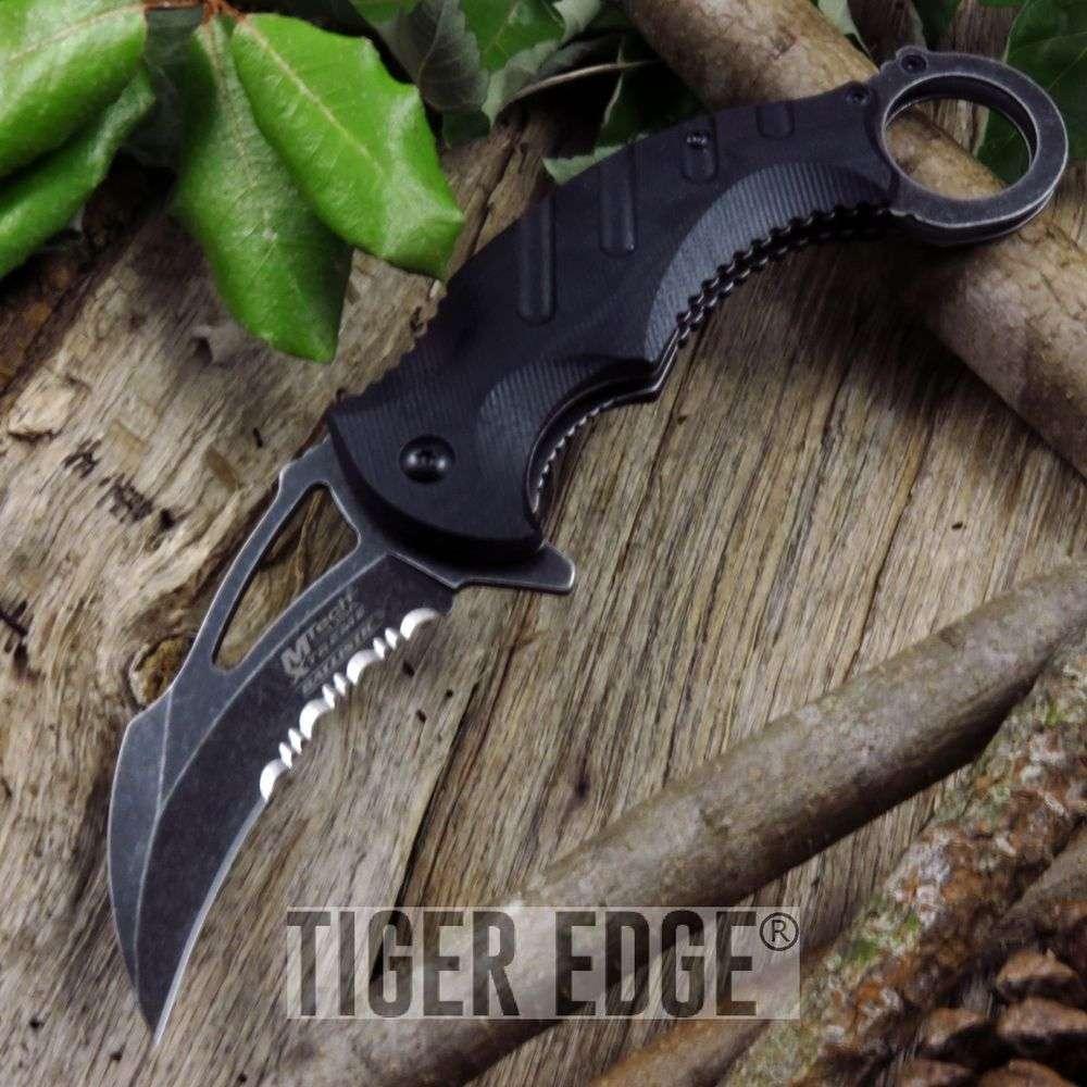 Mtech Black Fantasy Combat Karambit G10 Spring Assisted Folding Knife Stone