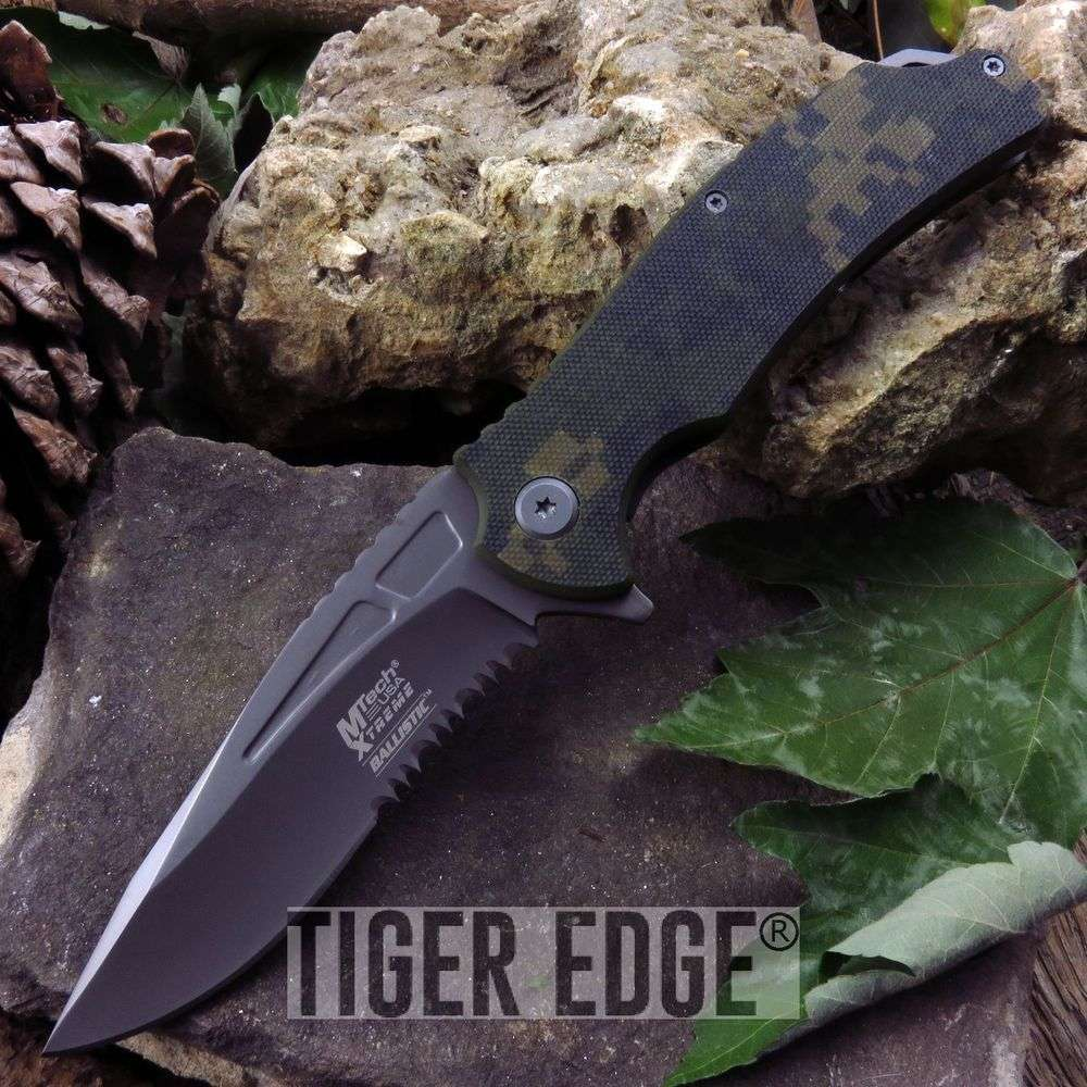 Mtech G10 Digital Camo Spring Assisted Folding Knife Titanium Coated Blade