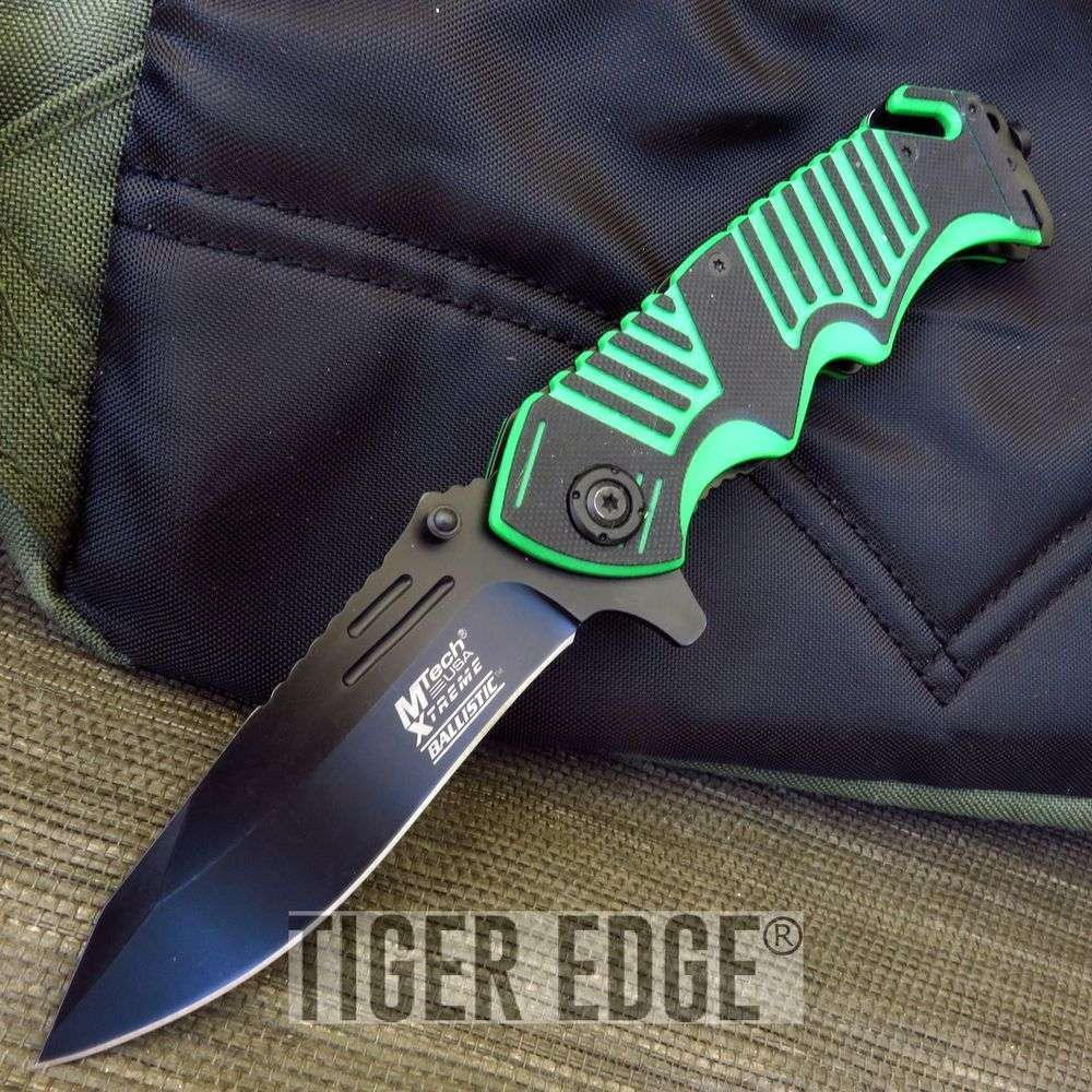Mtech Xtreme Green Rescue Spring Assist Folding Knife Rugged G10 Edc