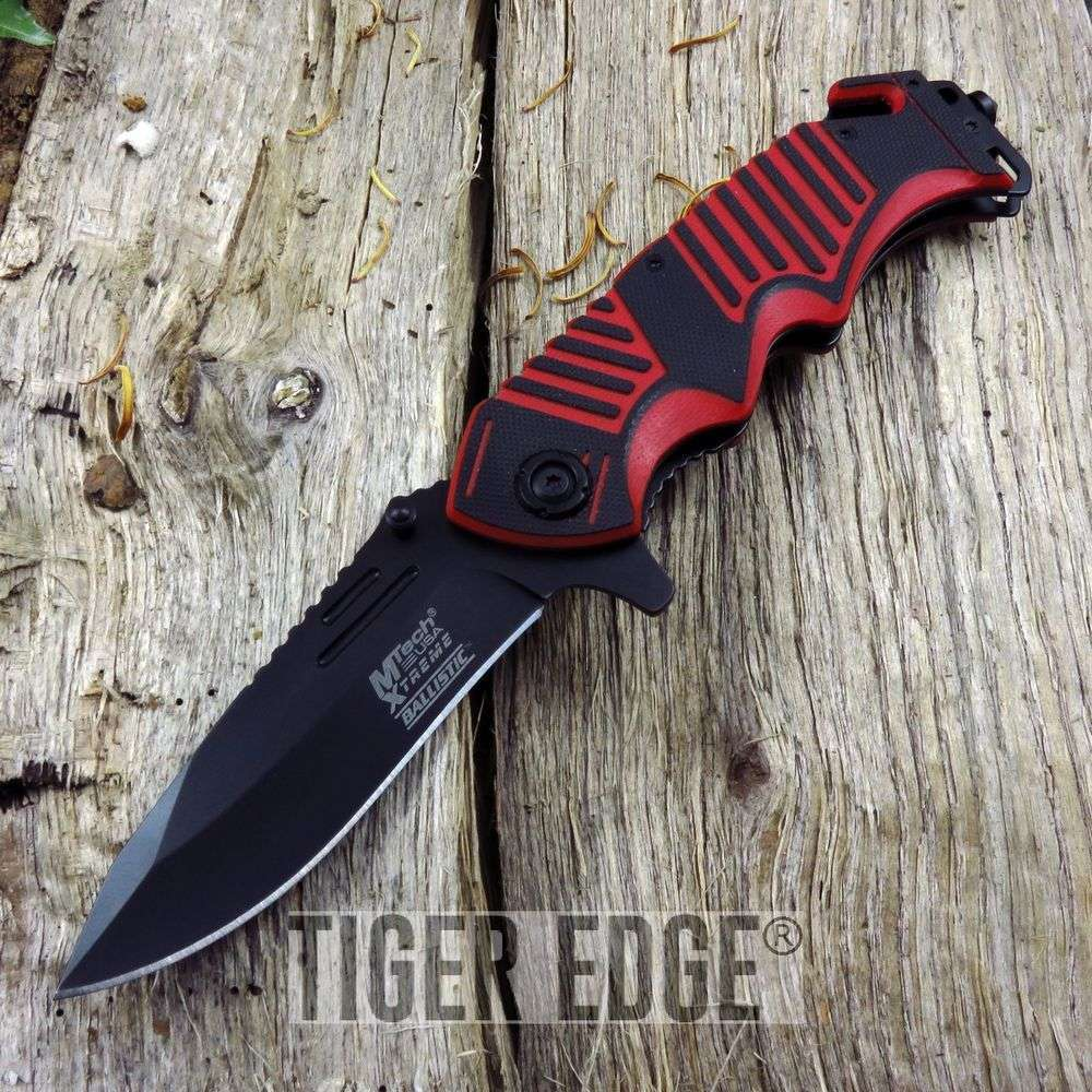 Mtech Xtreme Red Black Rescue Spring Assist Folding Knife Rugged G10 Edc
