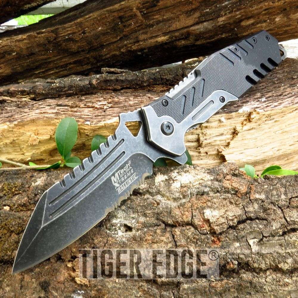 Mtech Rugged Black G10 Tactical Serrated Spring-Assisted Folding Knife