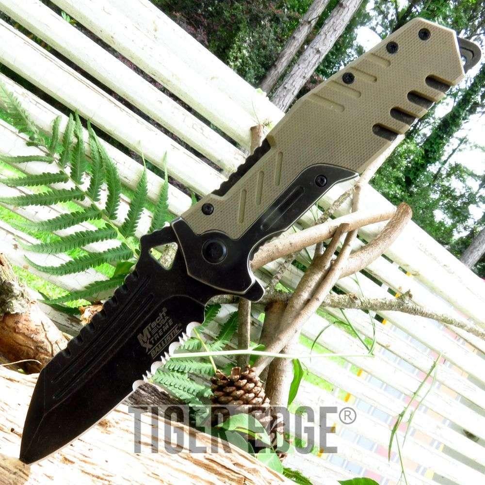 Mtech Rugged Desert Tan G10 Tactical Serrated Spring-Assist Folding Knife