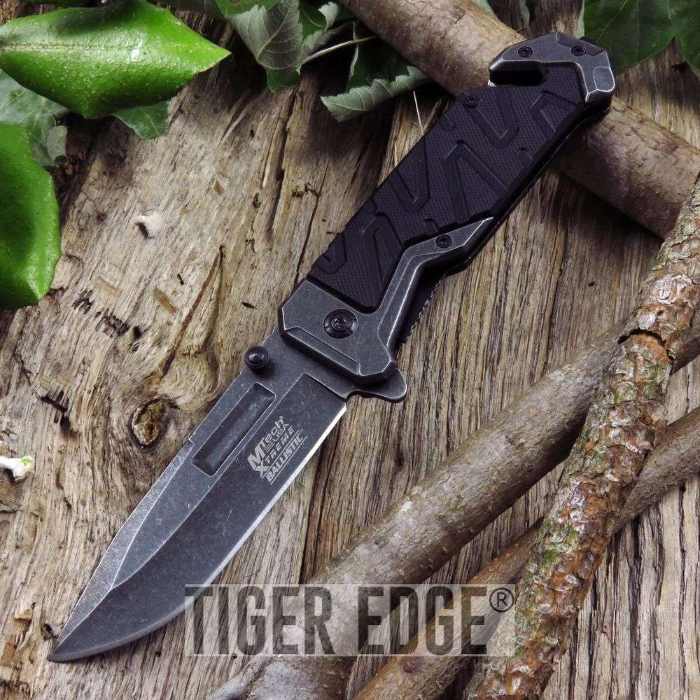 Spring-Assist Folding Pocket Knife Mtech Black Stonewash Rescue Tactical Open
