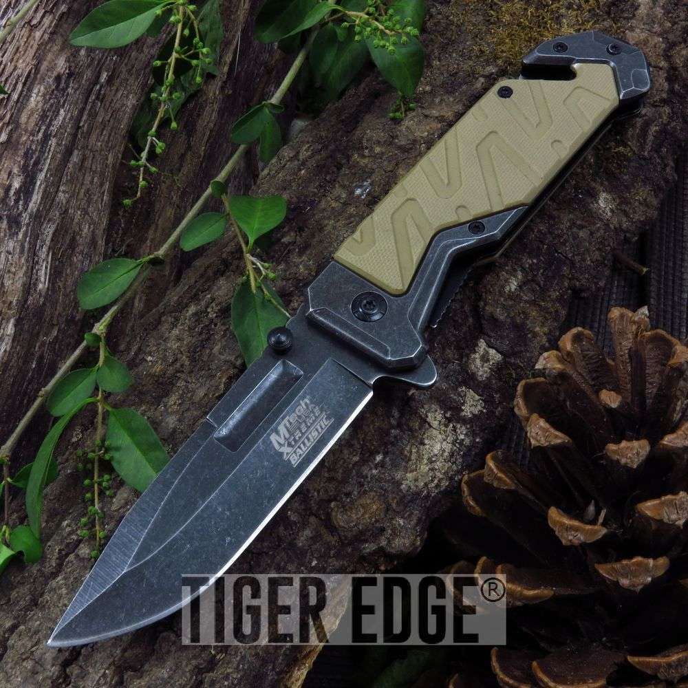 Spring-Assist Folding Pocket Knife Mtech Tan Stonewash Rescue Tactical Edc