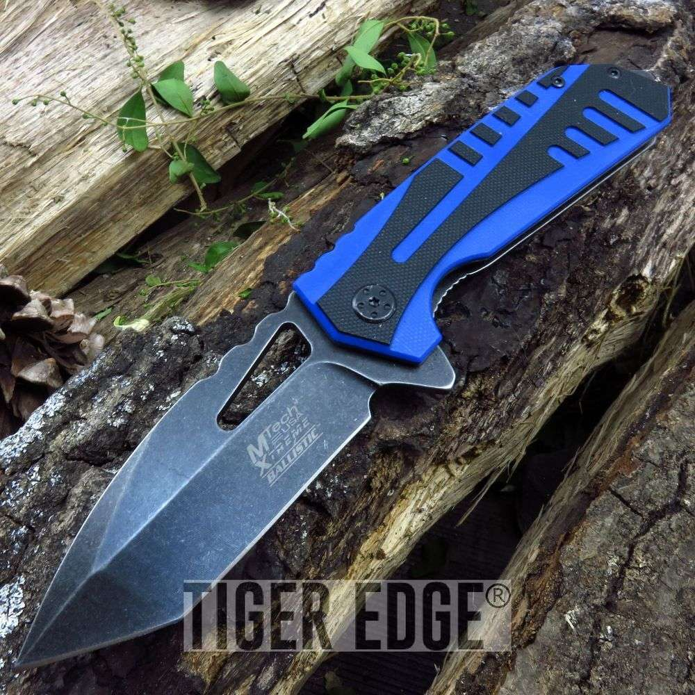 Mtech Tactical Spring-Assist Folding Knife Blue Tanto Everyday Carry