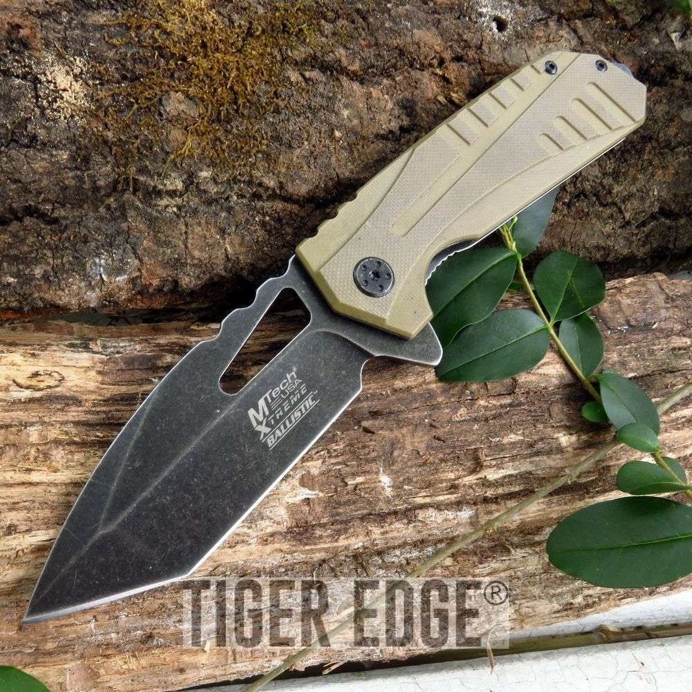 Mtech Tactical Spring-Assist Folding Knife Desert Tan Tanto Everyday Carry