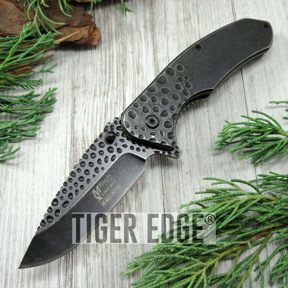 Spring-Assist Folding Pocket Knife Mtech Gray Stone Forge Heavy Duty Tactical