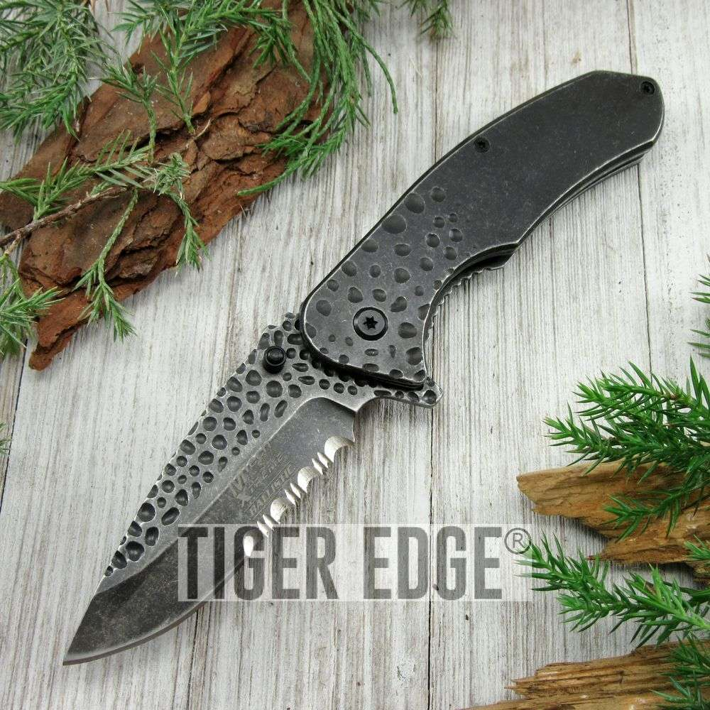 Spring-Assist Folding Pocket Knife Mtech Gray Stone Forge Serrated Tactical Edc