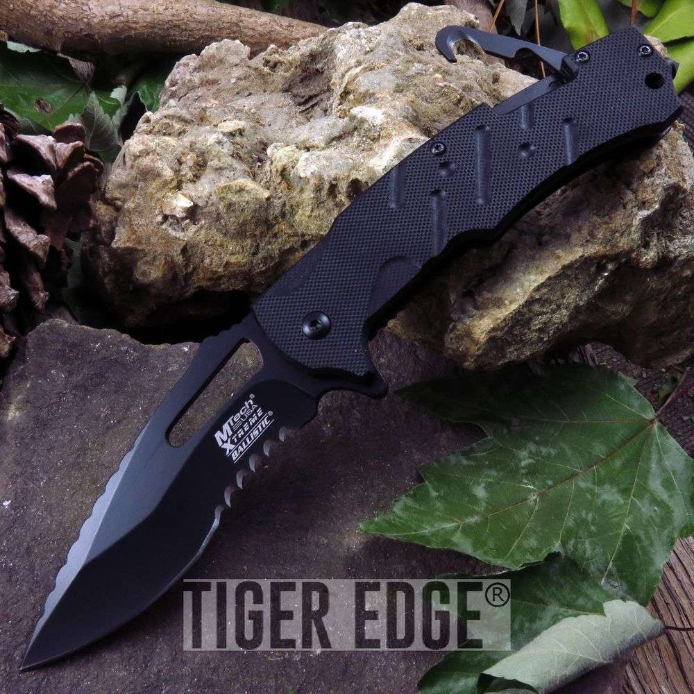 Spring-Assist Folding Pocket Knife Mtech Black Tactical Rescue Serrated Blade