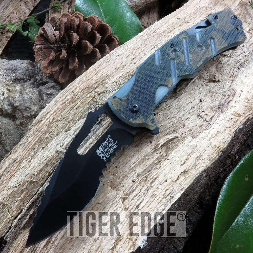 Spring Assist Folding Knife Mtech Tactical Rescue Hook Digital Camo  Mx-A846Dg