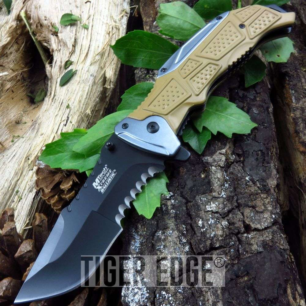 Spring Assist Folding Pocket Knife Mtech Black Tan Gray Heavy Duty Tactical Edc