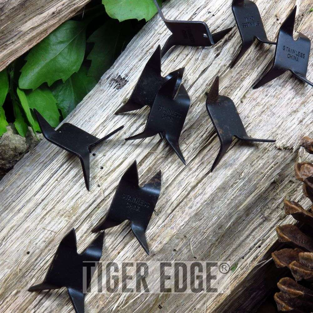 NINJA CALTROPS 10 Pack Functional Black Iron Spike Tactical MAKIBISHI TETSUBISHI