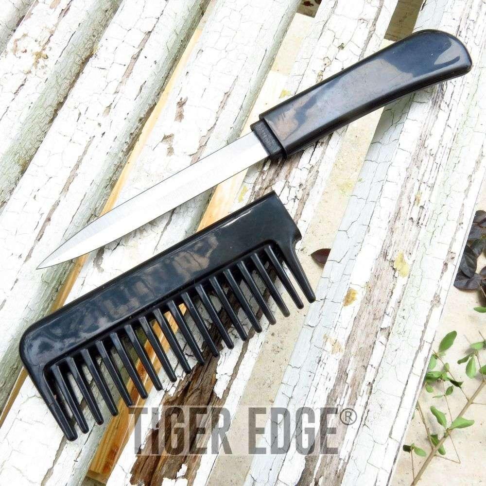 Classic Black Hidden Blade Comb Knife Women'S Self Defense Girl'S Gift
