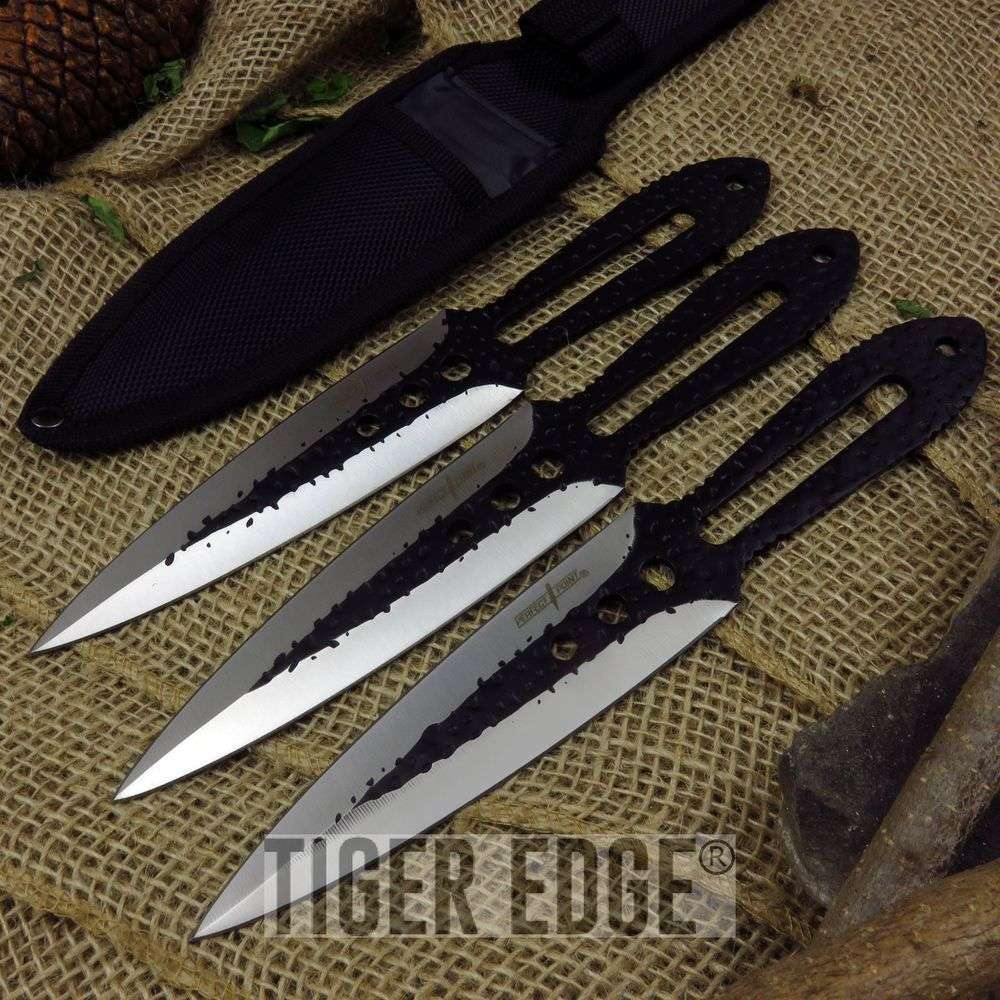 Throwing Knife Set Perfect Point 3-Piece Ninja Tactical Silver Black Pp-101-3B