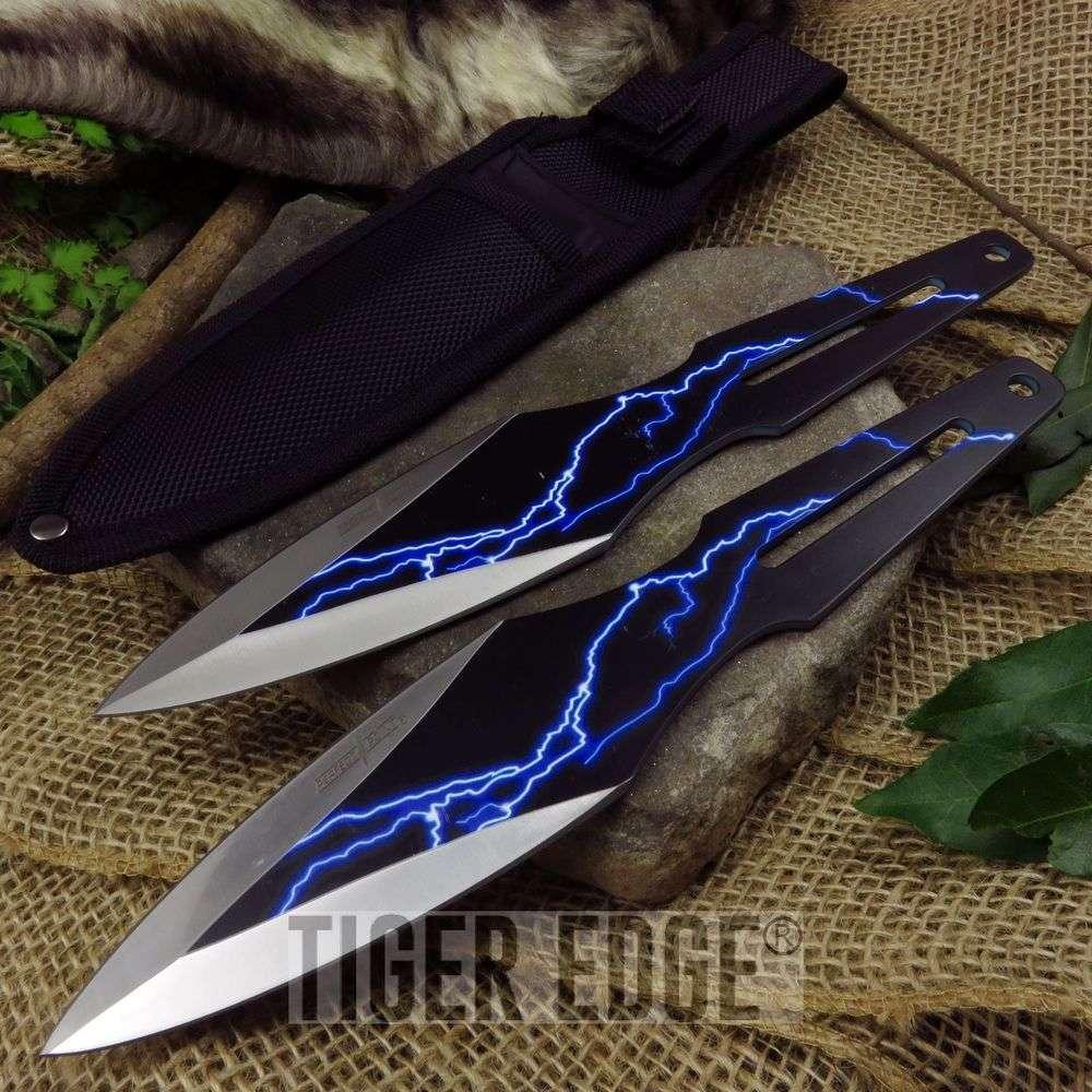 Throwing Knife Set   2 Piece Black Blue Thunderbolt Kunai Throwers With Sheath
