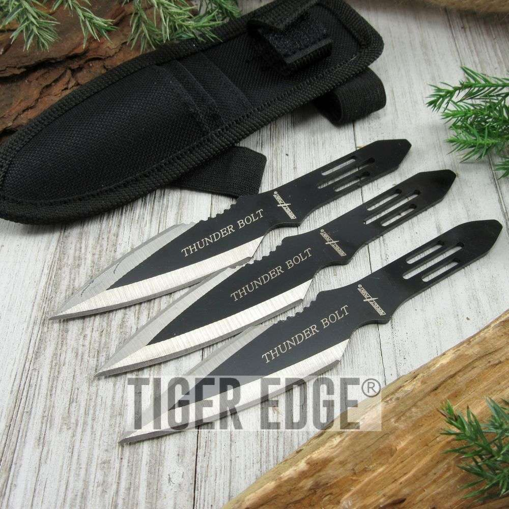 Black Ultimate 3 Pc Thunderbolt Throwing Knife Set