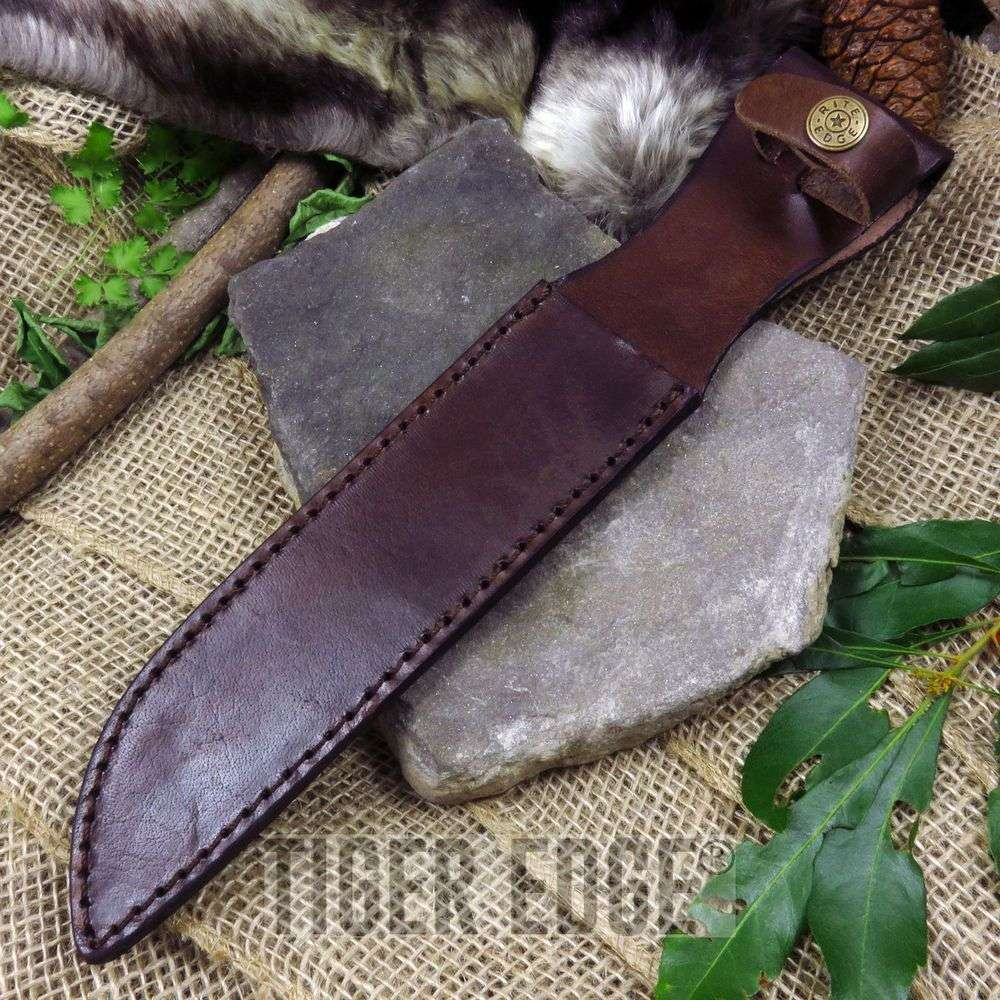 "Fixed-Blade Knife Belt Sheath | 7.5"" Usmc Combat Knife Brown Leather"