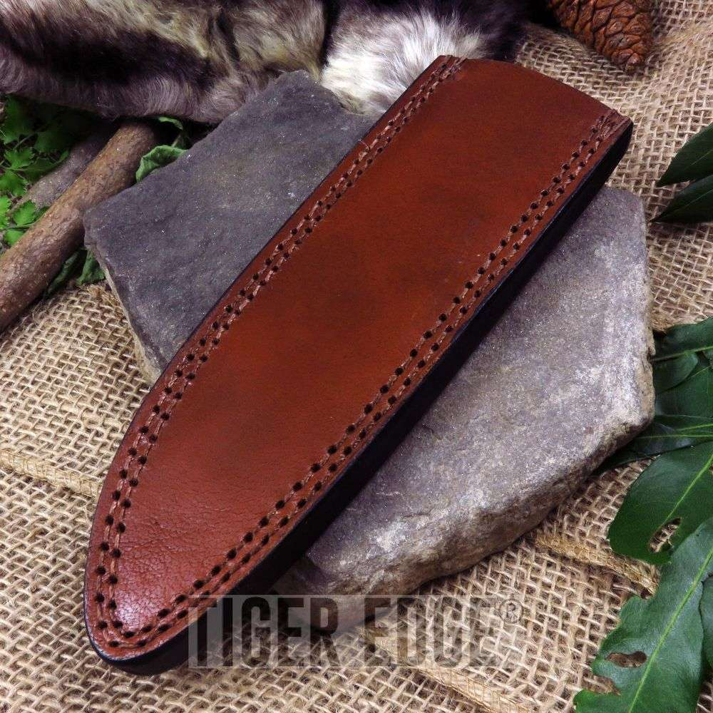 Fixed-Blade Knife Belt Sheath Brown Leather 8.25