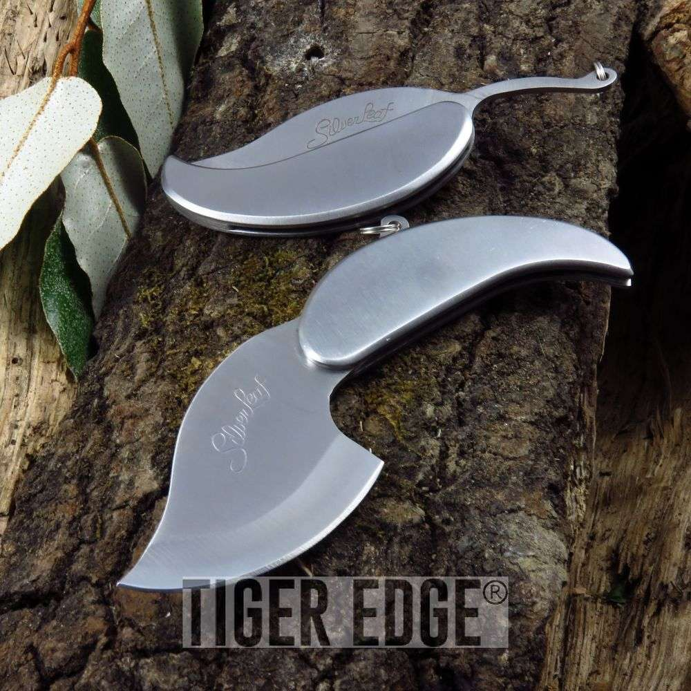 Folding Knife | Silver Leaf Keychain Necklace Knife Blade - Great Gift! - Ss0007