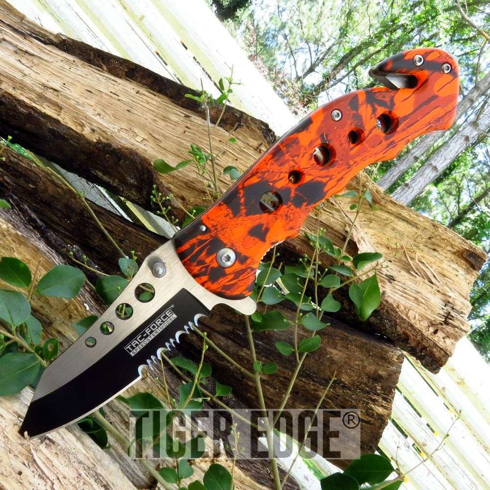Tac-Force Orange Leaf Camo Serrated Spring Assisted Hunting Folding Knife