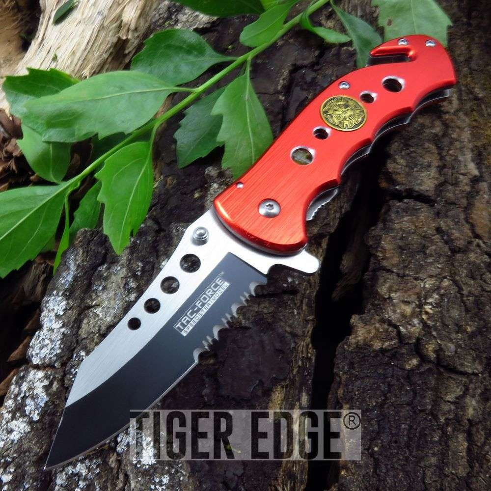 Tac-Force Red Firefighter Serrated Spring-Assisted Folding Rescue Knife