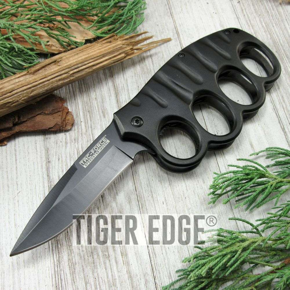Spring-Assist Folding Pocket Knife Tac-Force Black Knuckle Guard Defense Blade