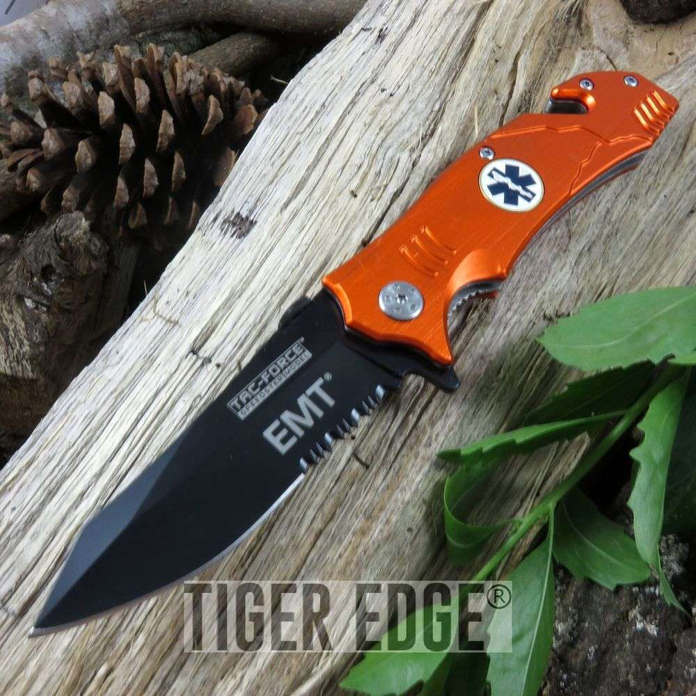 Tac-Force Orange Emt Paramedic Spring Assisted Rescue Folding Knife