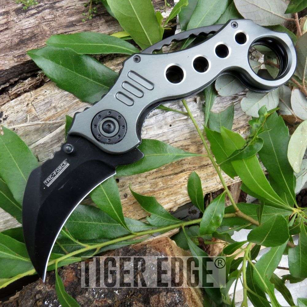 Tac-Force Grey Karambit Spring Assisted Combat Folding Pocket Knife