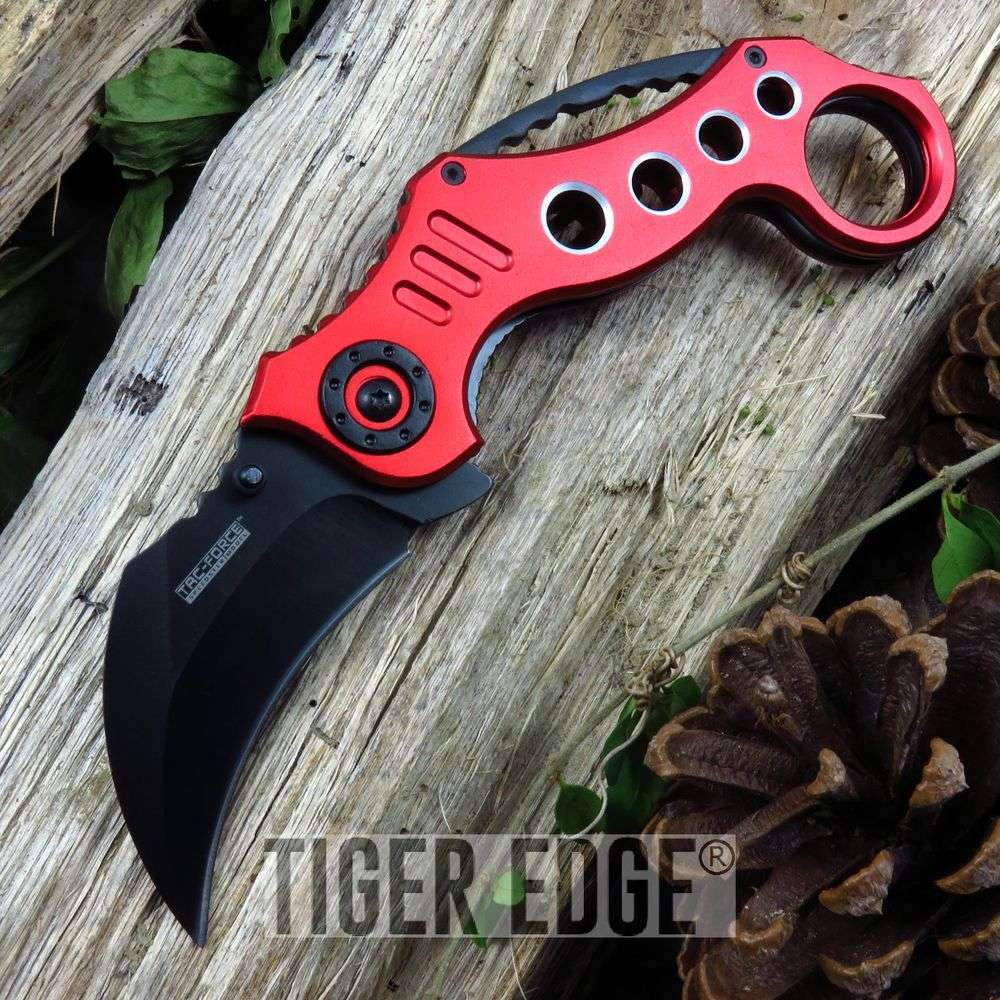 Red 440 Stainless Karambit Tactical Combat Spring-Assisted Folding Knife