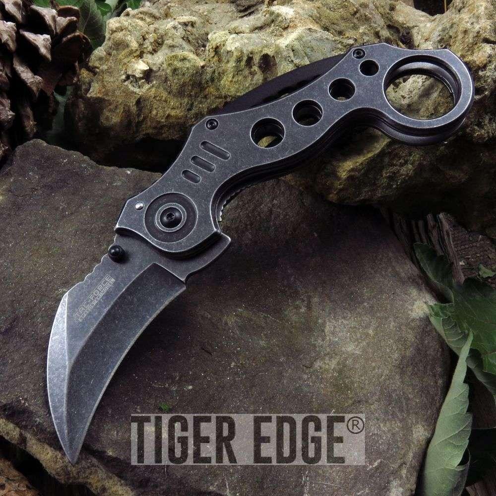 Tac-Force Stonewashed Gray Tactical Karambit Spring-Assist Folding Knife