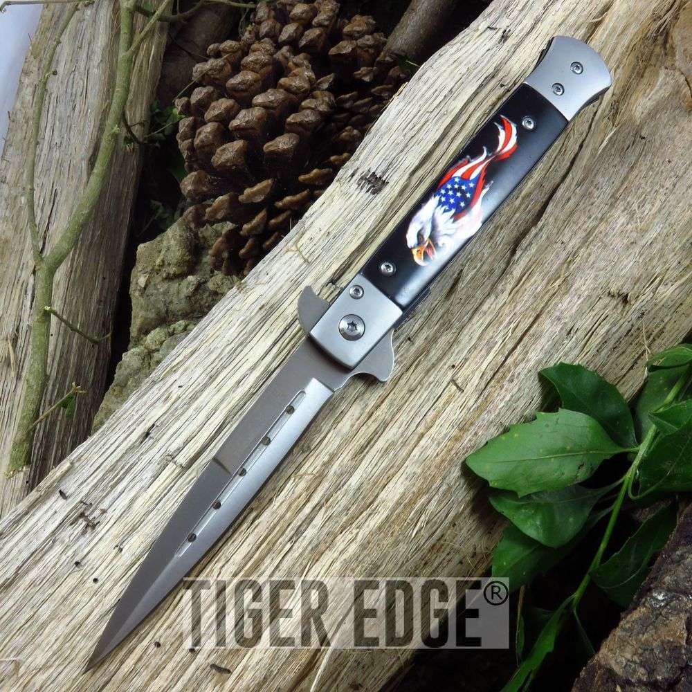 "8.75"" Italian Stiletto Style Assist-Open American Eagle Folding Knife"