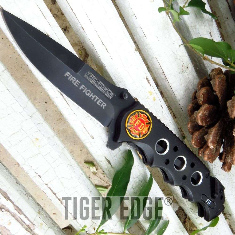 Tac-Force Black Fire Fighter Serrated Spring Assisted Tactical Folding Knife