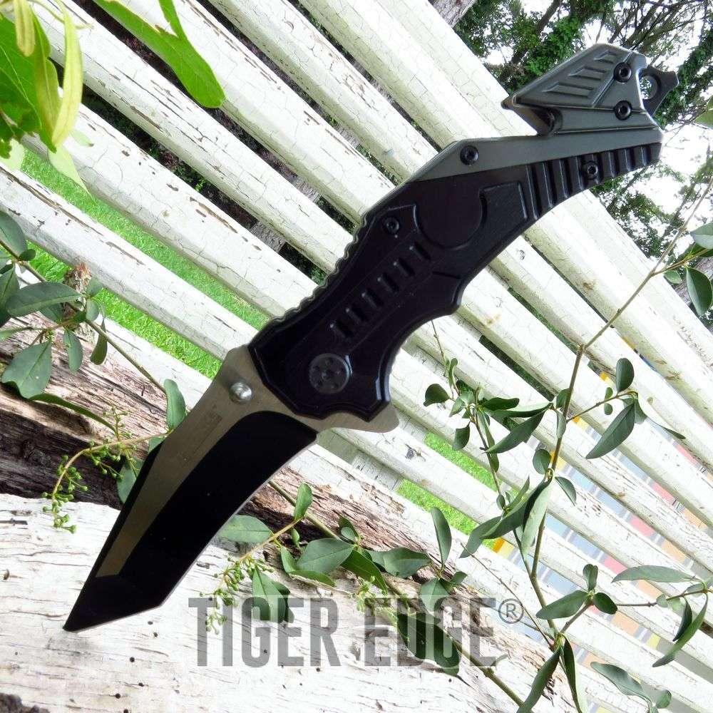 Heavy Duty Black Tanto Blade Spring-Assisted Folding Knife W/ Glass Breaker