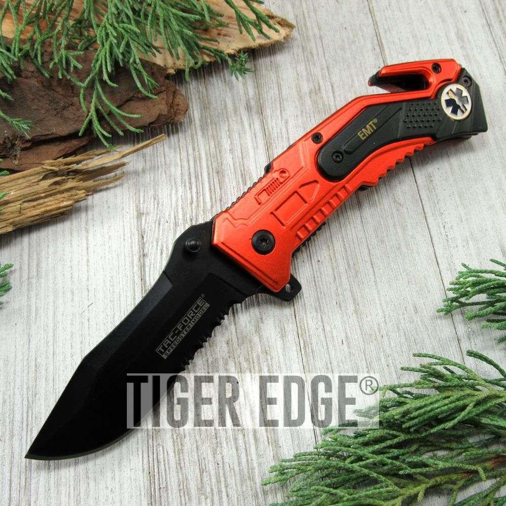 Spring-Assist Folding Pocket Knife Tac-Force Black Serrated Emt Paramedic Rescue