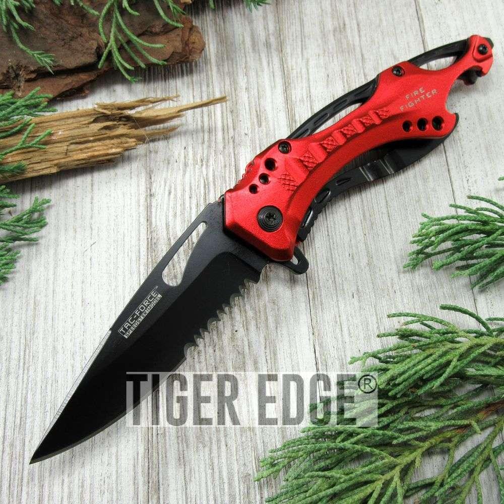 Spring-Assist Folding Pocket Knife Tac-Force Serrated Black Blade Red Survival