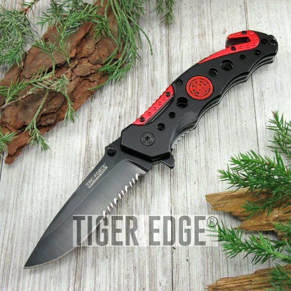 Spring-Assist Folding Pocket Knife Tac-Force Black Firefighter Serrated Blade