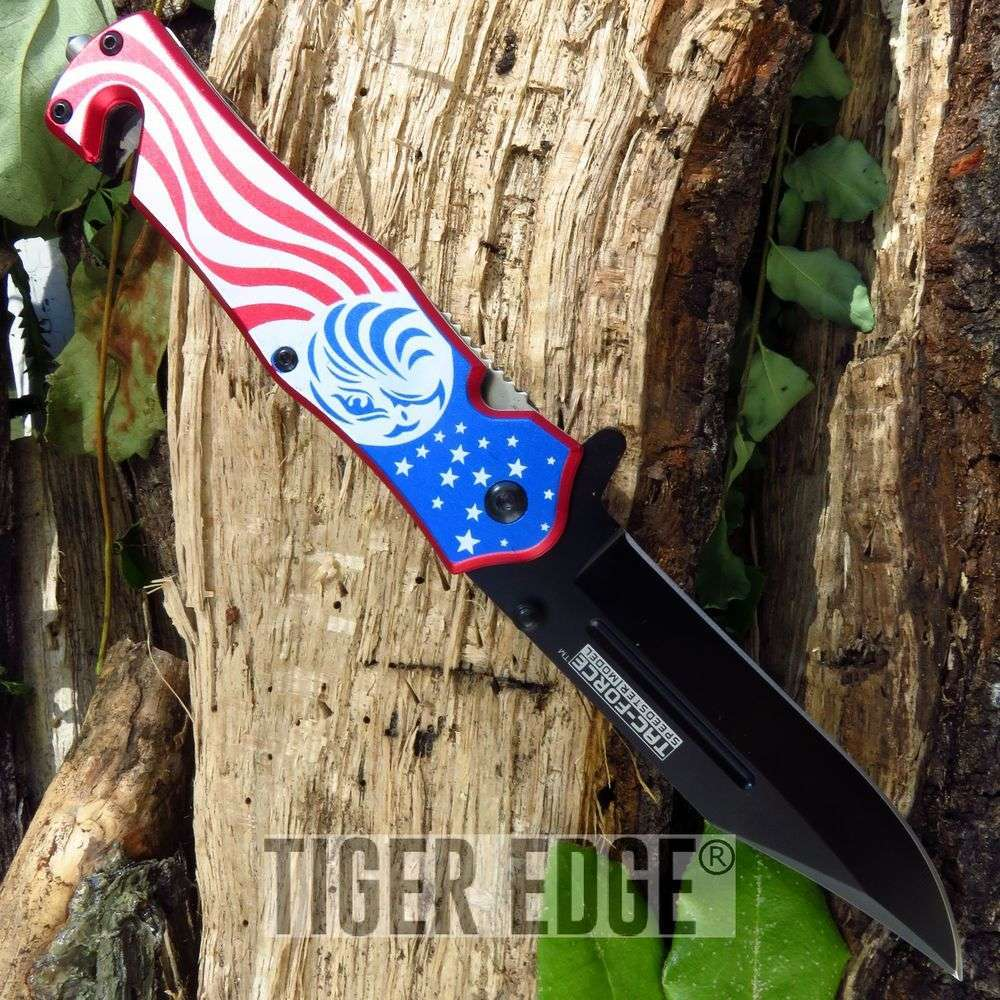 Tac-Force American Flag Eagle Spring-Assisted Folding Knife