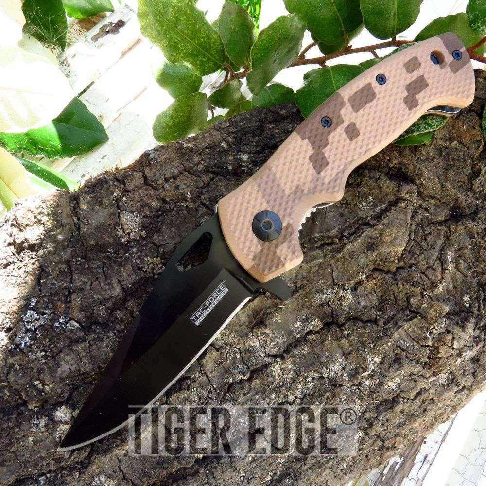 Desert Digital Camo Nylon Fiber Handle Spring-Assisted Folding Pocket Knife