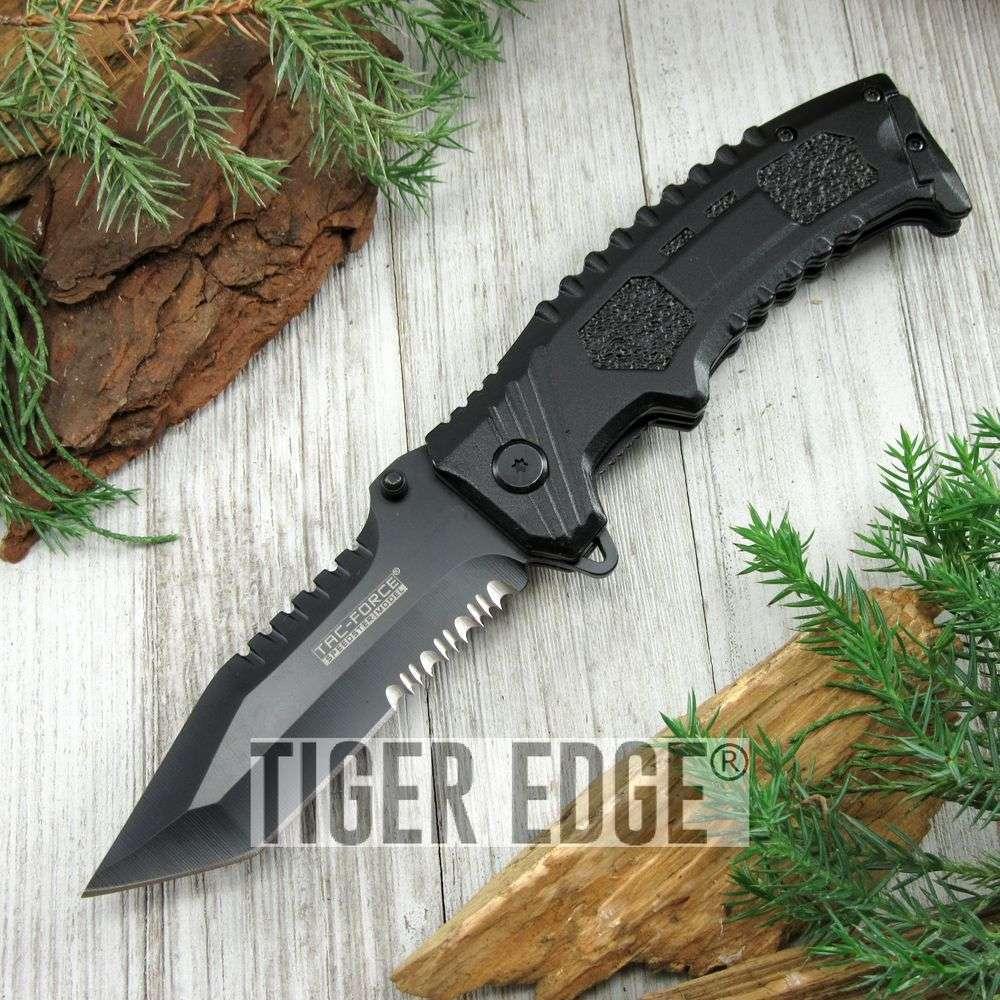 Spring-Assist Folding Pocket Knife Tac-Force Black Serrated Tanto Blade Combat