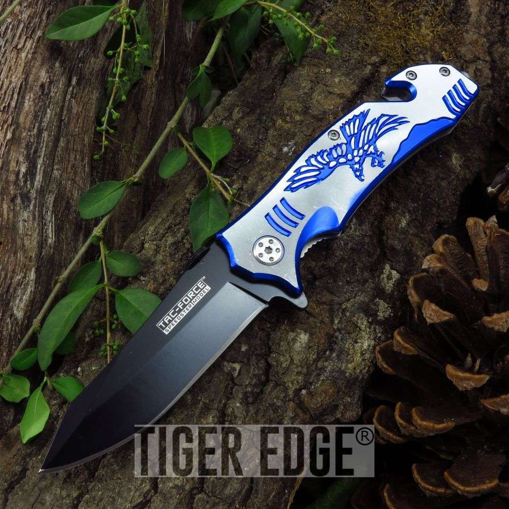 Blue And White Soaring Eagle Spring-Assisted Rescue Folding Pocket Knife