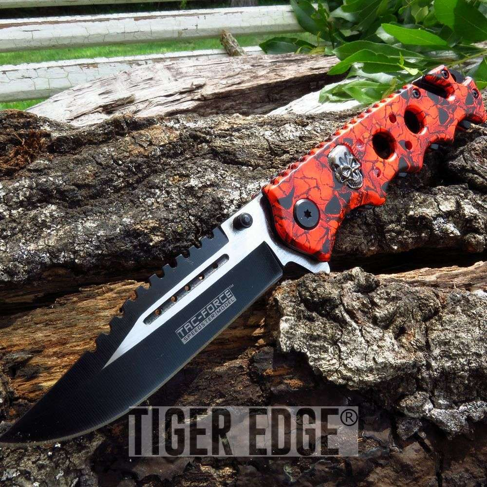 Spring-Assisted Folding Pocket Knife Tac-Force Red Skull Black Tactical Blade