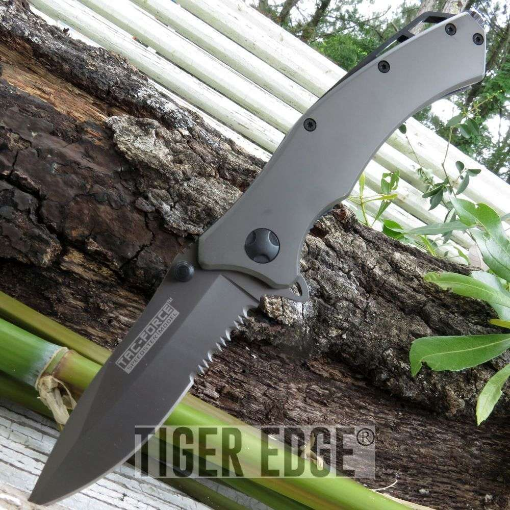 Tac-Force Titanium Grey Serrated Spring-Assisted Tactical Folding Knife