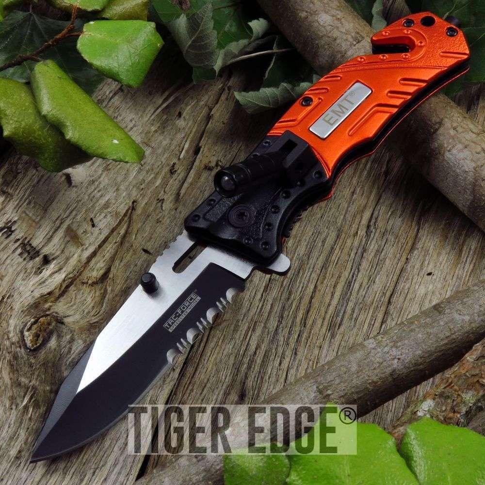 Tac-Force Emt Orange Pocket Knife With Led Serrated Spring Assisted