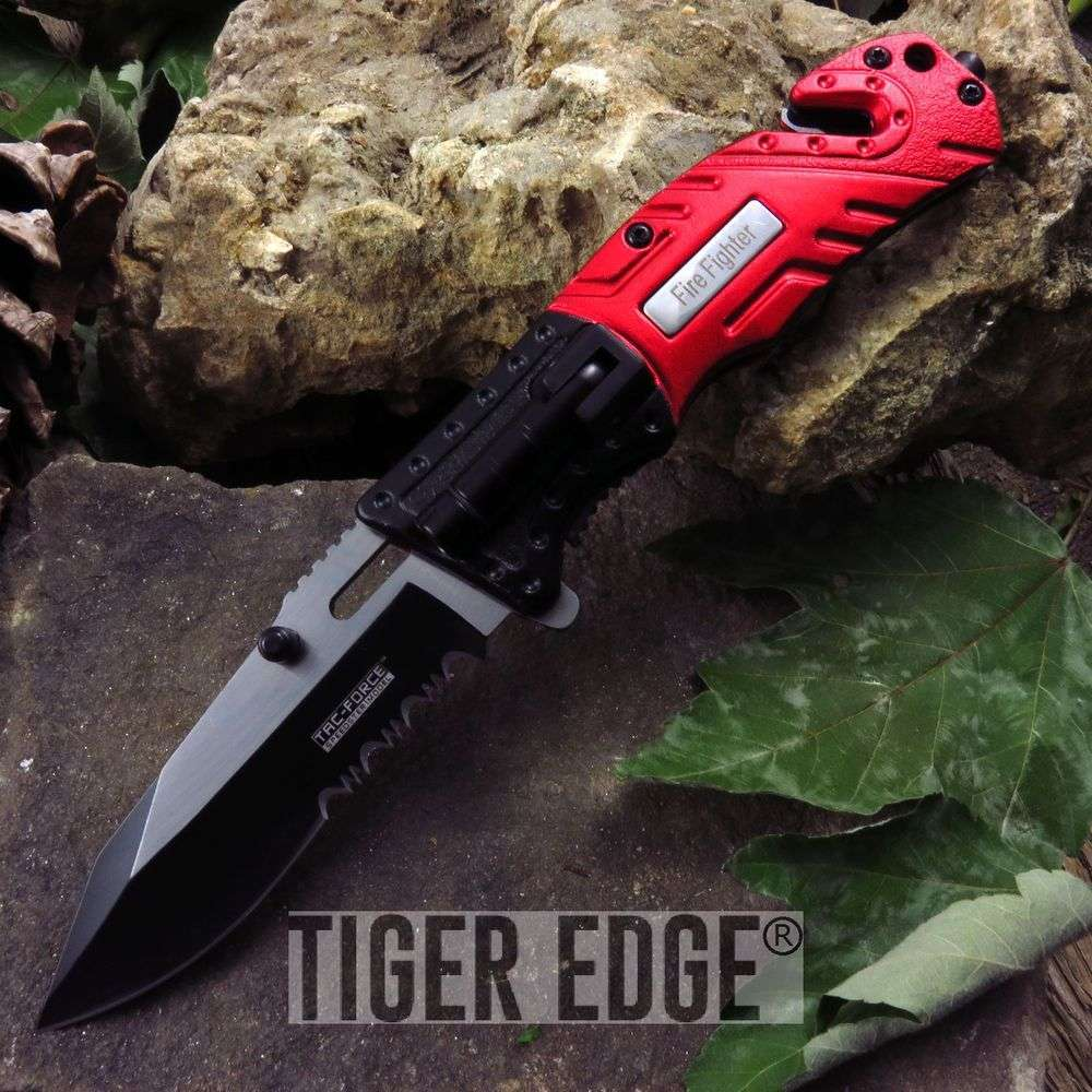 Tac-Force Fire Fighter Red Pocket Knife With Led Serrated Spring Assisted