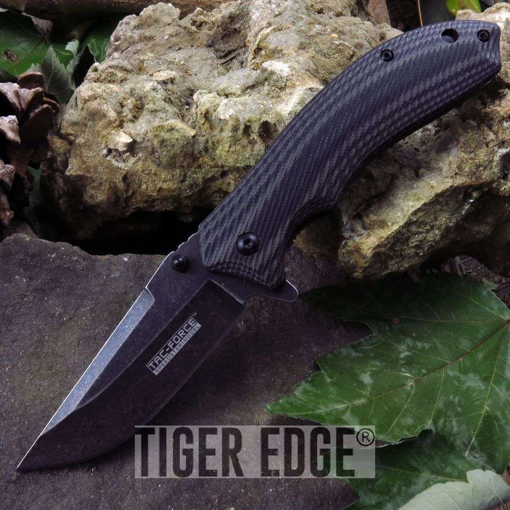 Tac-Force Stonewash Two-Tone Grey G10 Spring Assist Folding Pocket Knife