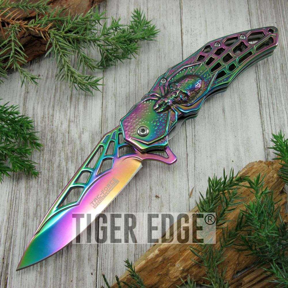 Spring-Assist Folding Pocket Knife Rainbow Chrome Spider Web Blade Fantasy Edc