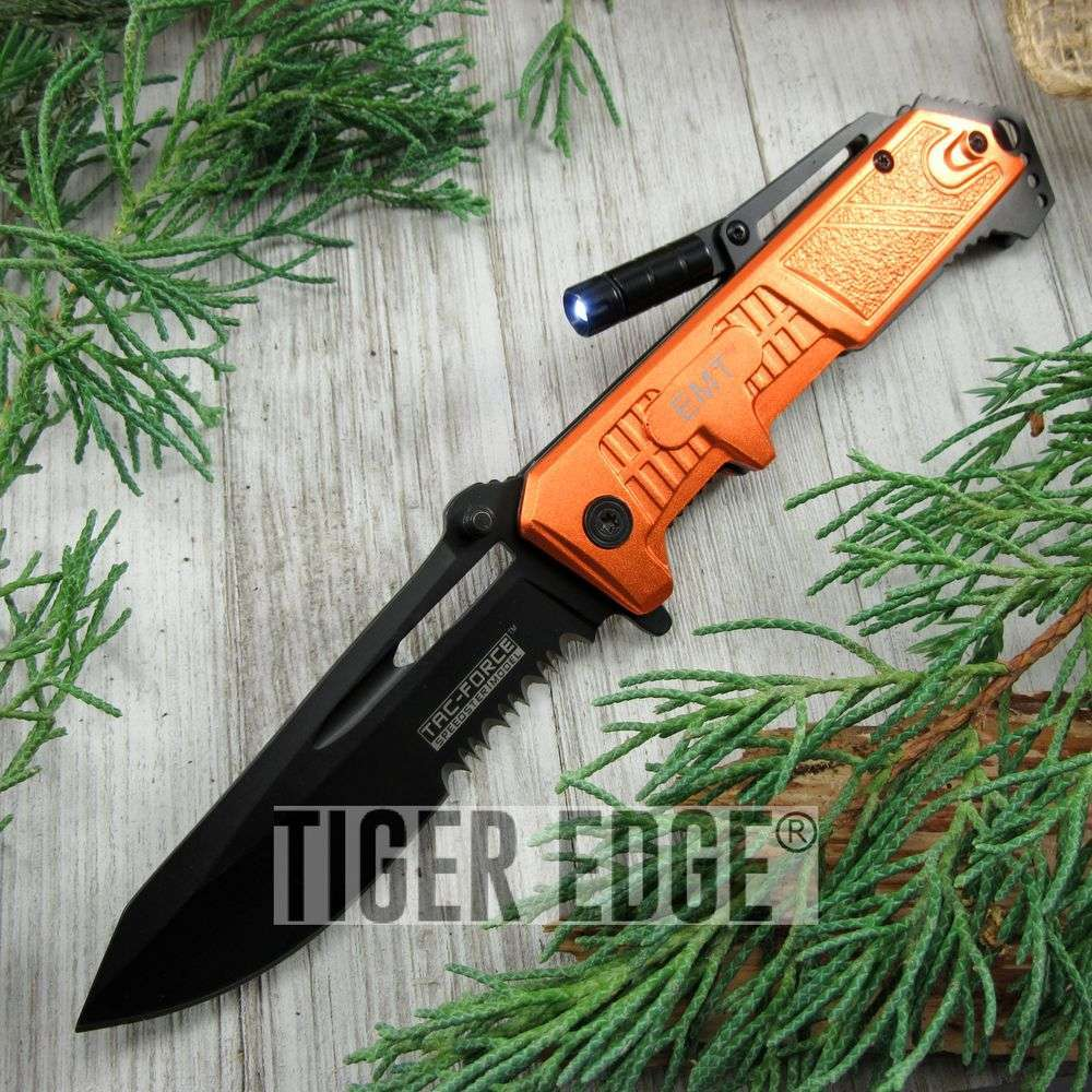 Spring-Assist Folding Pocket Knife Black Serrated Blade Orange Emt Led Light