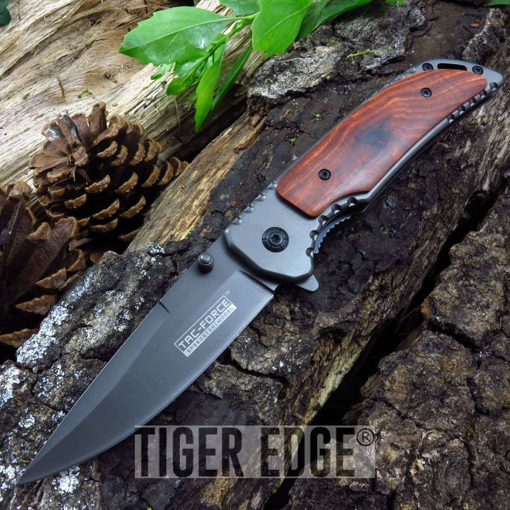 Tac-Force Wood Handle Ti-Coated Spring-Assist Edc Folding Pocket Knife